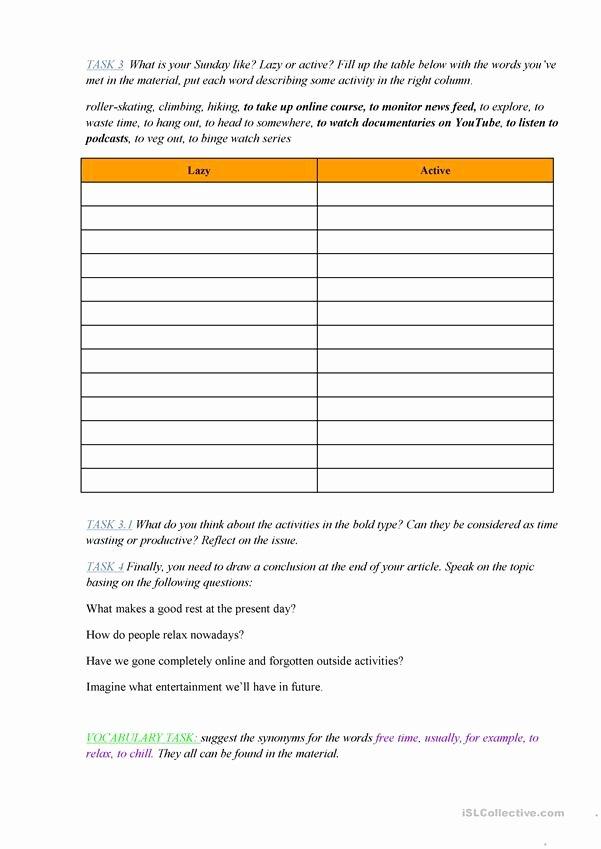 Communication Skills Worksheets for Adults Lovely Munication Skills Workshop Leisure Time English Esl