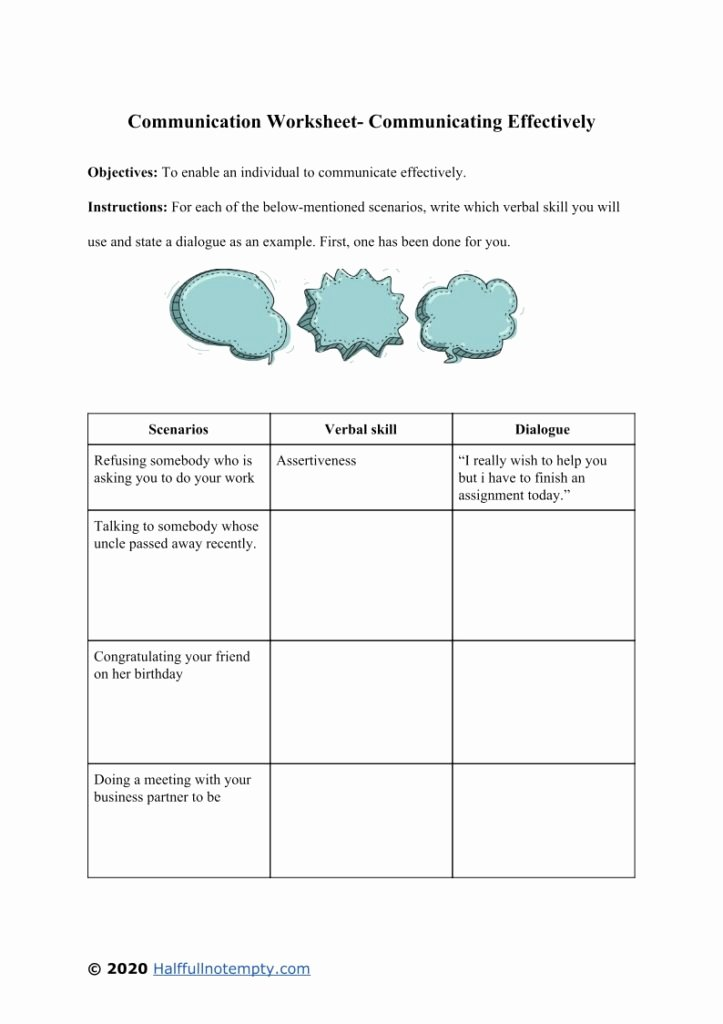 Communication Skills Worksheets for Adults New Munication Worksheets Skills Municationworksheet