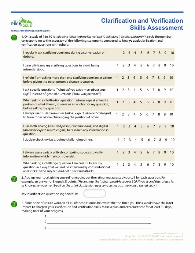 Communication Skills Worksheets for Adults Printable Clarification Skills assessment Worksheet