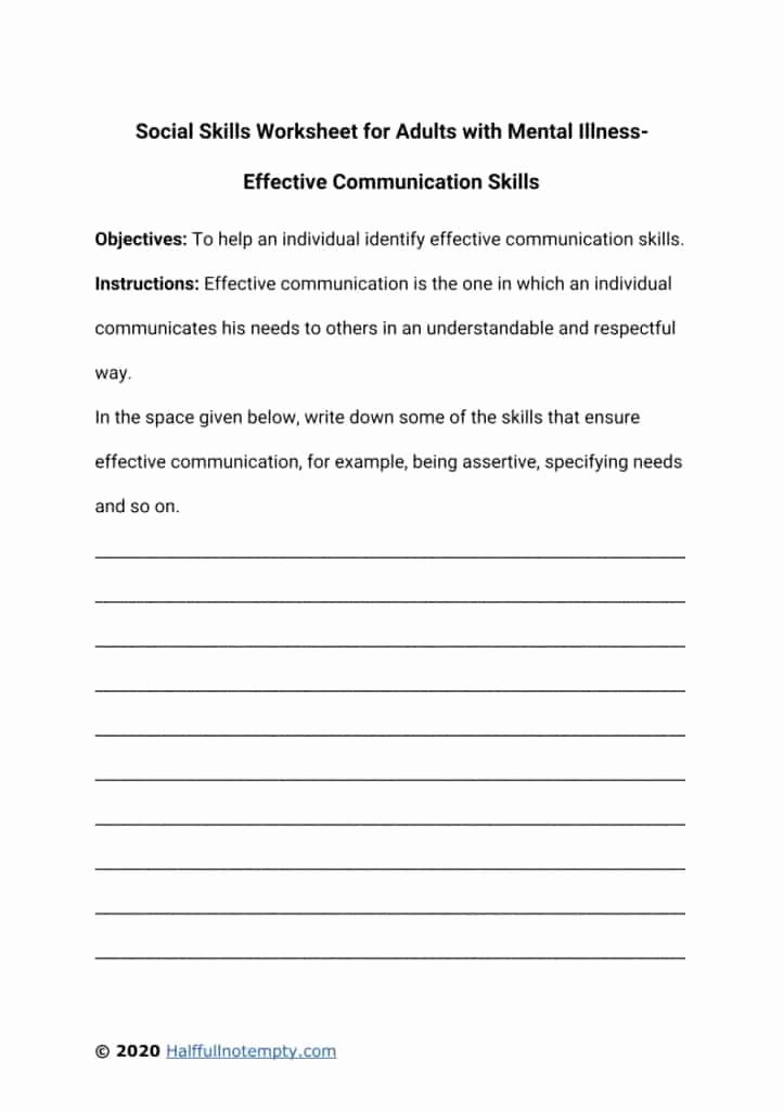 Communication Skills Worksheets for Adults Printable social Skills Worksheets for Adults with Mental Illness