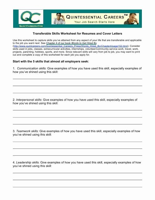 Communication Skills Worksheets for Adults Printable Transferable Skills Worksheet for Resumes and Cover Letters