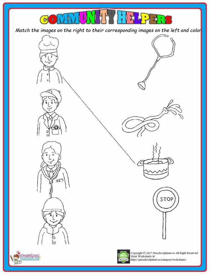 Community Helpers Worksheet for Preschool Kids Munity Helpers Matching Worksheet – Preschoolplanet