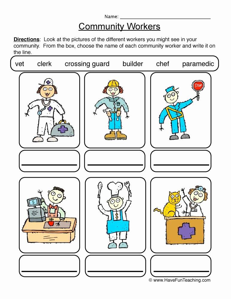 Community Helpers Worksheet for Preschool Lovely Identifying Munity Workers Worksheet