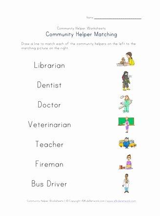 Community Helpers Worksheet for Preschool Lovely Munity Helpers Matching Worksheet