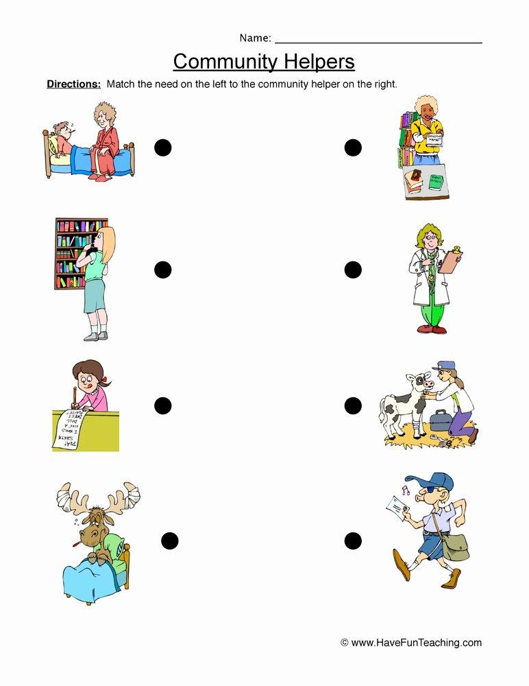 Community Helpers Worksheet for Preschool top Munity Helper Matching Worksheet