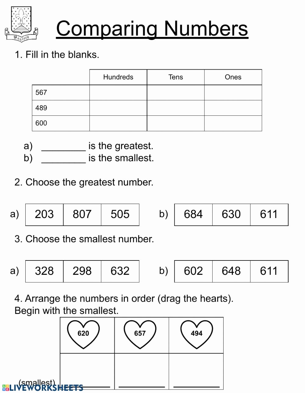 Comparing 2 Digit Numbers Worksheets top Paring Numbers Second Grade Interactive Worksheet