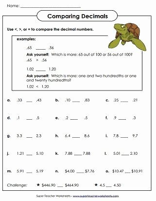 Comparing Decimals Worksheet 5th Grade Free Paring Decimals Worksheet 5th Grade Decimal Place Value