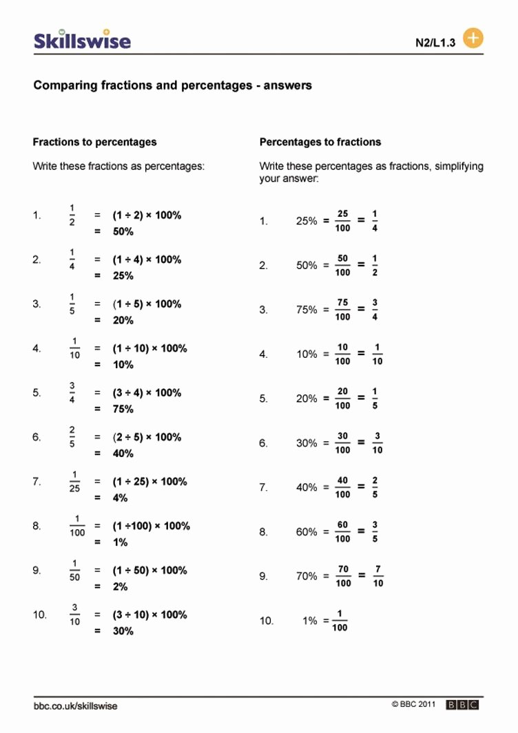 Comparing Fractions and Decimals Worksheet Free Paring Fractions Decimals and Percents Worksheets