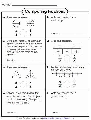 Comparing Fractions Third Grade Worksheet Inspirational Paring & ordering Fractions Worksheets