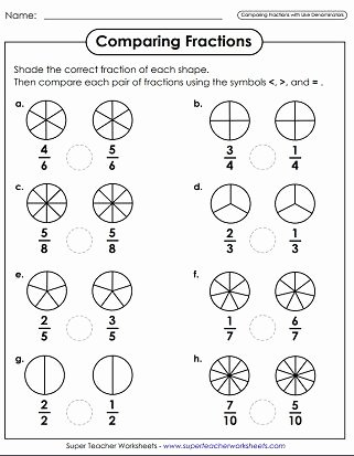 Comparing Fractions Third Grade Worksheet New Paring Fractions Worksheets