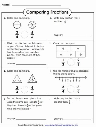 Comparing Fractions Worksheet 3rd Grade Free Paring & ordering Fractions Worksheets