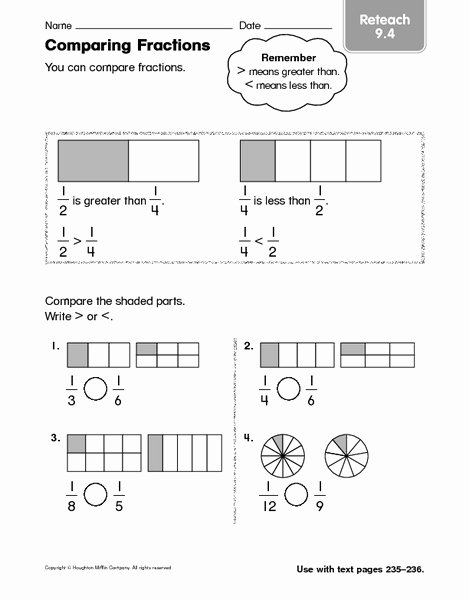 Comparing Fractions Worksheet 3rd Grade Ideas Paring Fractions Reteach 9 4 Worksheet for 2nd 3rd