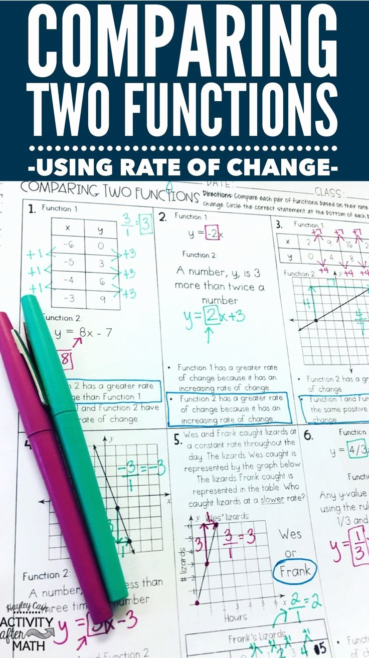 Comparing Functions Worksheet 8th Grade Printable Paring Two Functions by Rate Of Change Practice Worksheet
