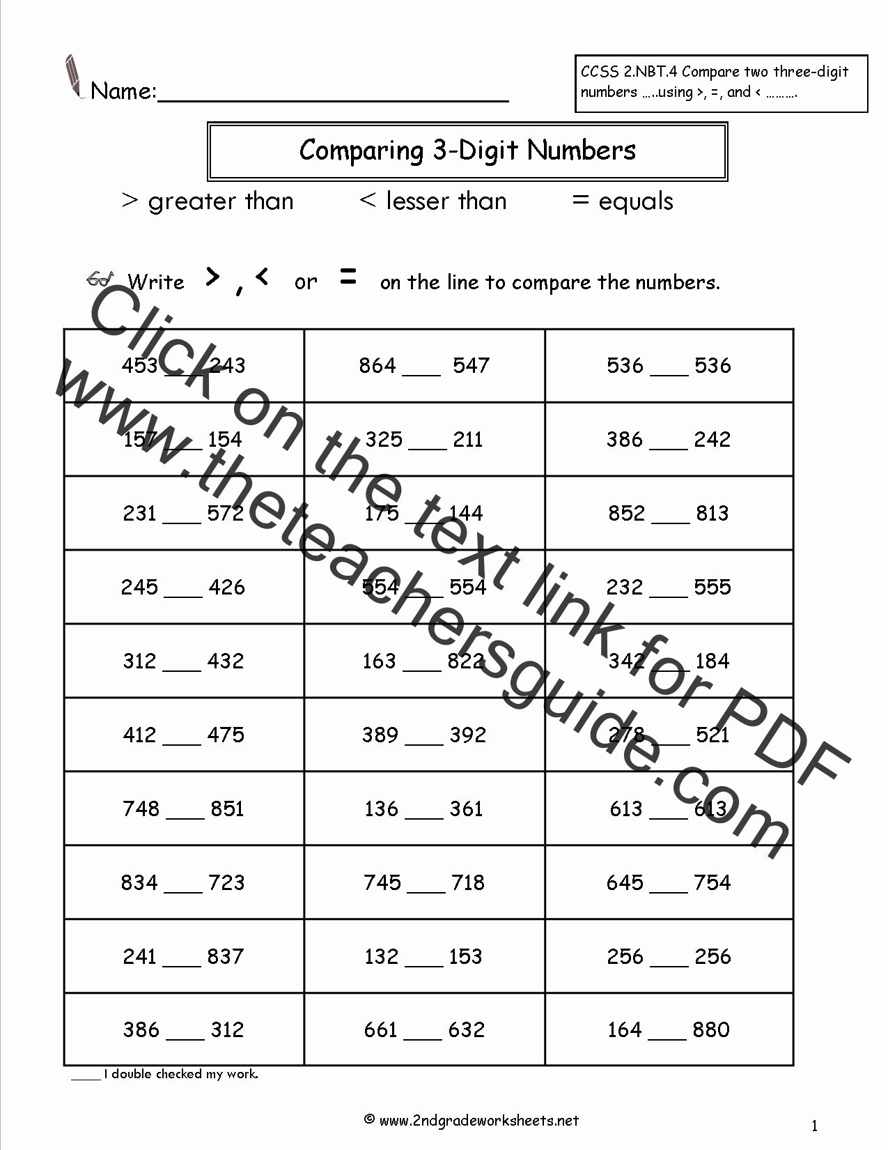 Comparing Numbers Worksheets 2nd Grade Best Of Paring Two and Three Digit Numbers Worksheets