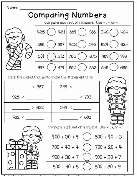 Comparing Numbers Worksheets 2nd Grade Kids Christmas Freebie Print and Go