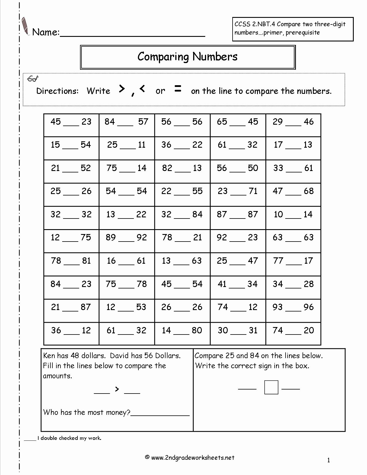 Comparing Numbers Worksheets 2nd Grade Kids Worksheet Worksheet Awesome Math Fact Sheets for 2nd Grade