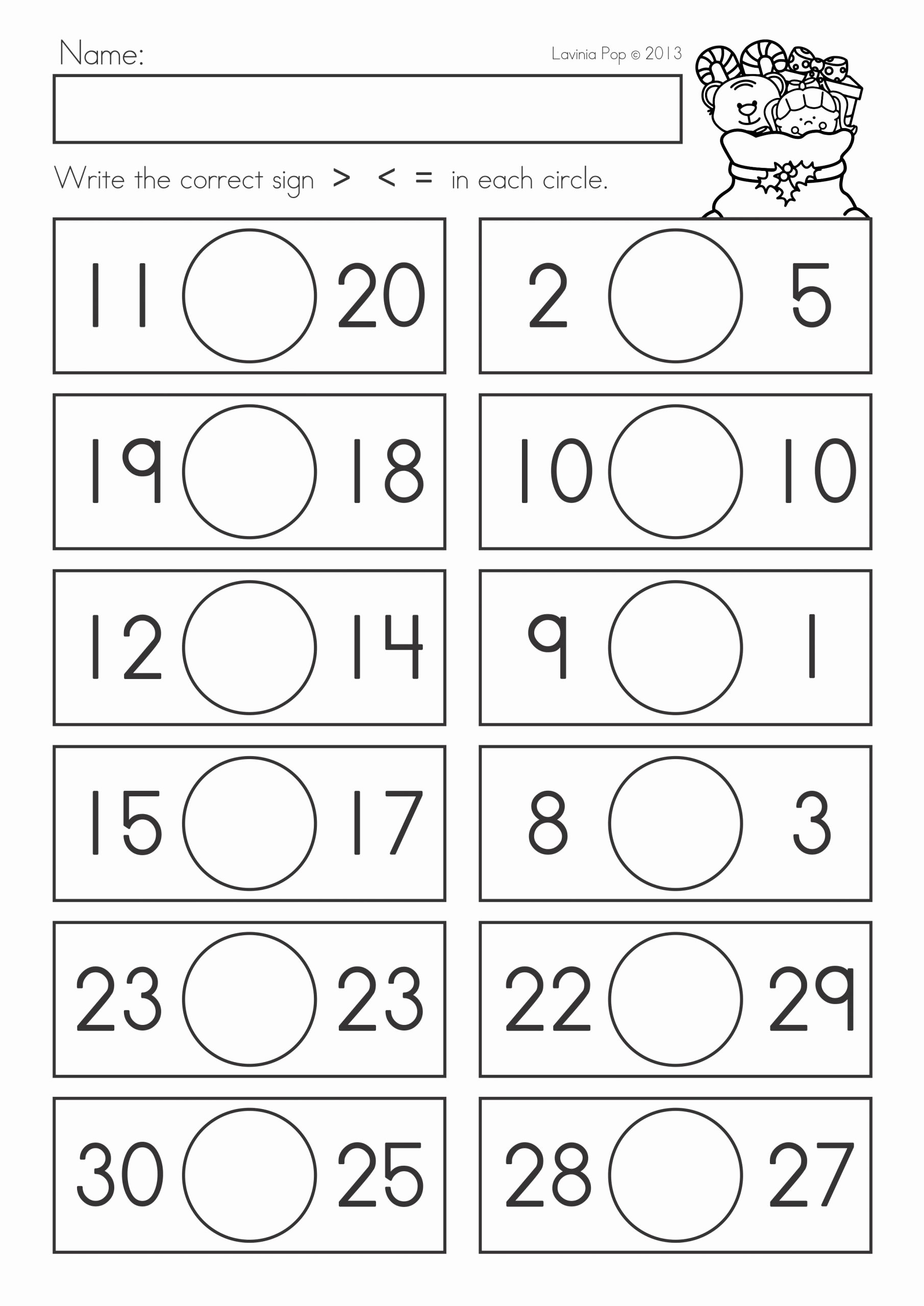 Comparing Numbers Worksheets 2nd Grade Kids Worksheets Paring Numbers Worksheets for First Grade