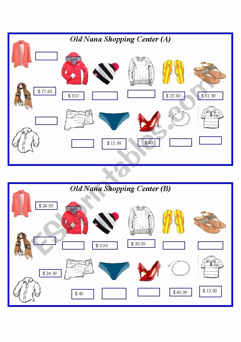 Comparison Shopping Worksheets for Students Lovely asking and Paring Prices Clothing Esl Worksheet by J729