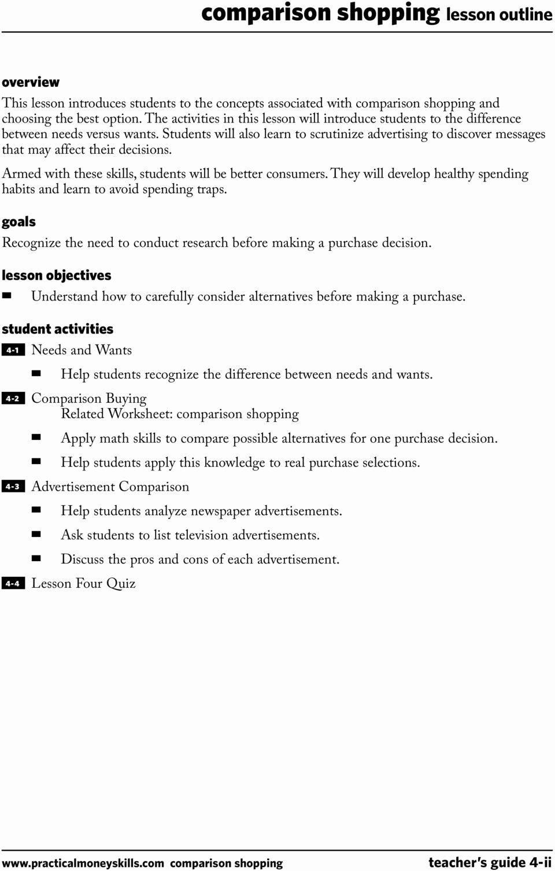 Comparison Shopping Worksheets for Students Lovely Teacher S Guide Lesson Four Parison Shopping 04 09