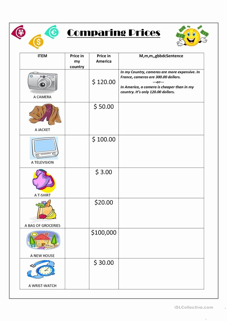 Comparison Shopping Worksheets for Students Printable Paring English Esl Worksheets for Distance Learning