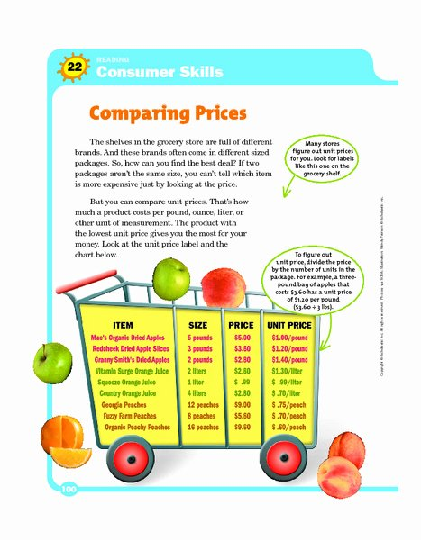 Comparison Shopping Worksheets for Students top Consumer Skills Paring Graphic organizer for 4th 5th