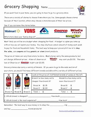 Comparison Shopping Worksheets for Students top Grocery Shopping