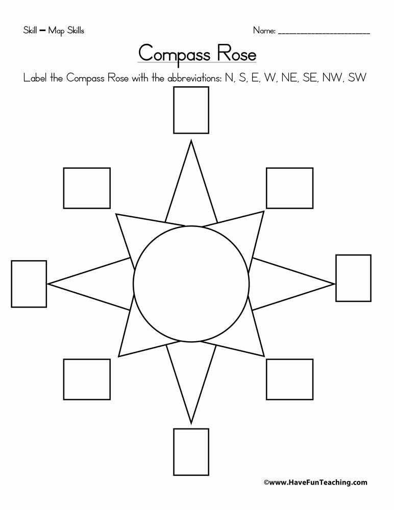 Compass Rose Worksheets Middle School Kids Pass Rose Worksheet