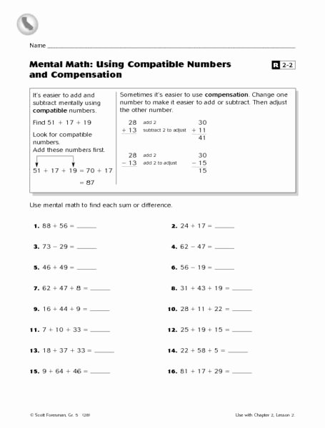 Compatible Numbers In Division Worksheets Kids Mental Math Using Patible Numbers and Pensation 3rd
