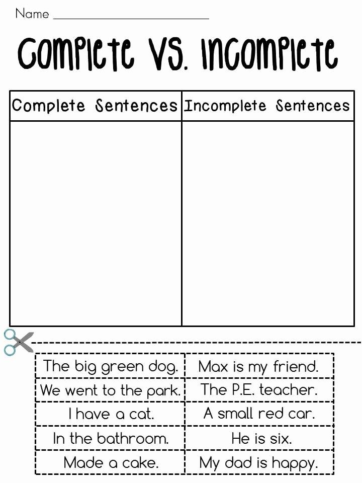 Complete and Incomplete Sentence Worksheets Fresh Plete Vs In Plete Worksheets