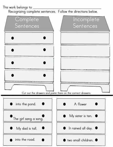 Complete and Incomplete Sentence Worksheets New Plete or In Plete Sentences Worksheet for 2nd 3rd