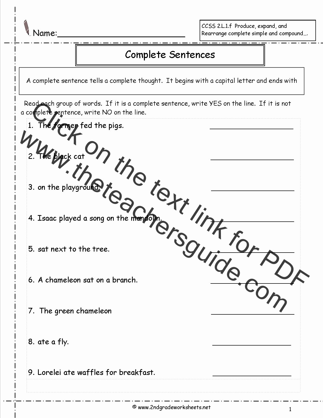 Complete and Incomplete Sentence Worksheets top Second Grade Sentences Worksheets Ccss 2 L 1 F Worksheets