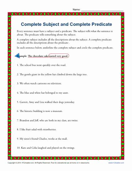 Complete Sentence Worksheet 3rd Grade Printable Plete Subject and Plete Predicate
