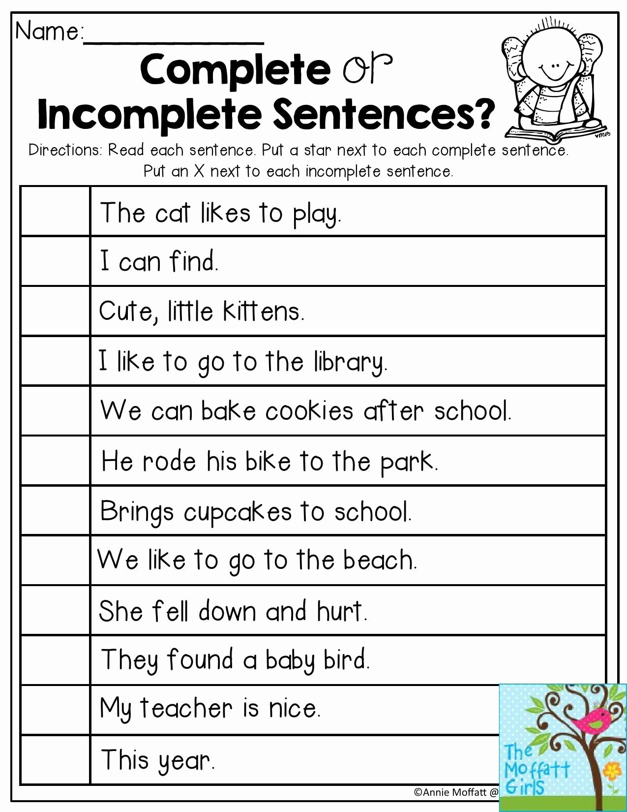 Complete Sentence Worksheets 1st Grade Free Plete or In Plete Sentences Read Each Sentence and