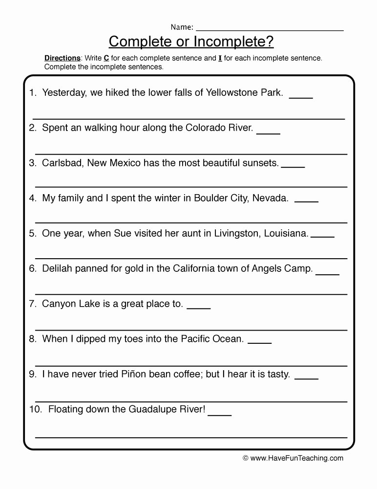 Complete Sentence Worksheets 4th Grade Lovely Rewriting In Plete Sentences Worksheet