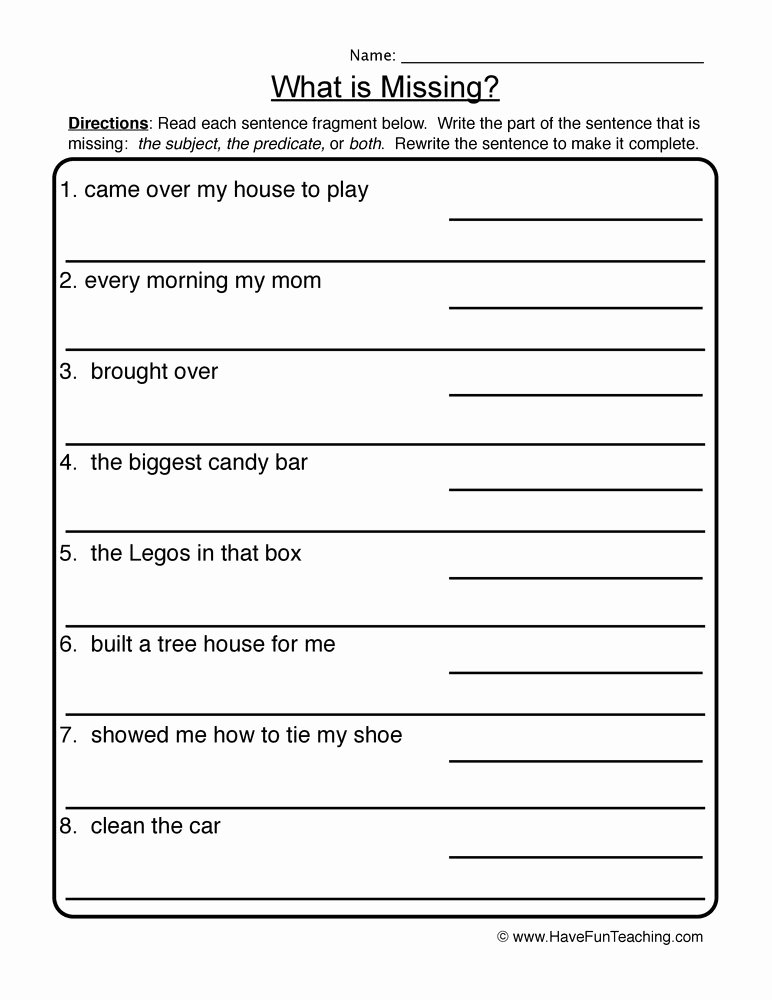 Complete Sentence Worksheets 4th Grade New What is Missing Plete In Plete Sentences Worksheet