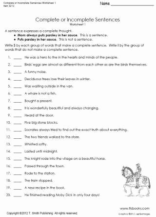 Complete Sentence Worksheets 4th Grade top Plete or In Plete Sentences Worksheet 1