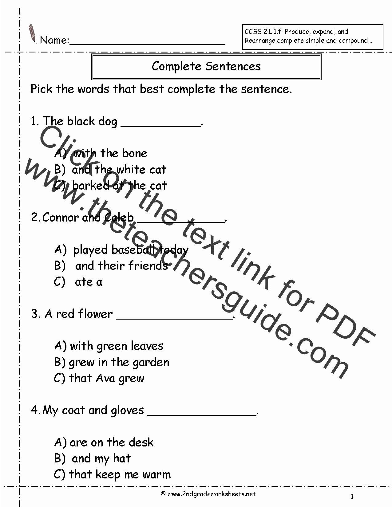 Complete Sentences Worksheet 1st Grade Ideas Sentence and Non Sentence Worksheet Grade 3