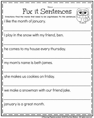 Complete Sentences Worksheet 1st Grade Kids 1st Grade Worksheets for January