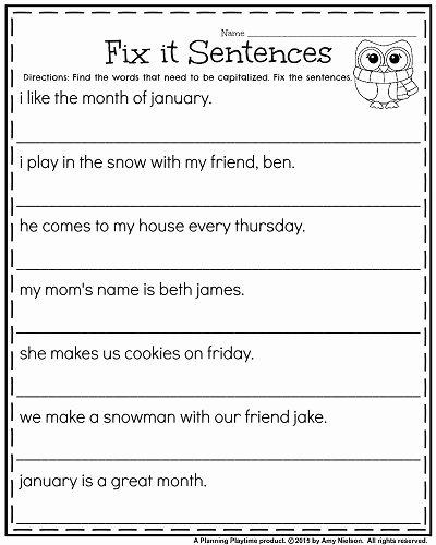 Complete Sentences Worksheet 1st Grade Kids 1st Grade Worksheets for January