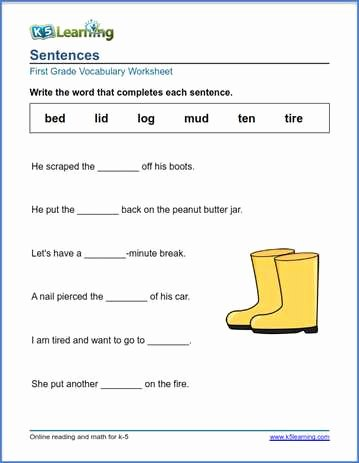Complete Sentences Worksheet 1st Grade top First Grade Vocabulary Worksheets – Printable and organized