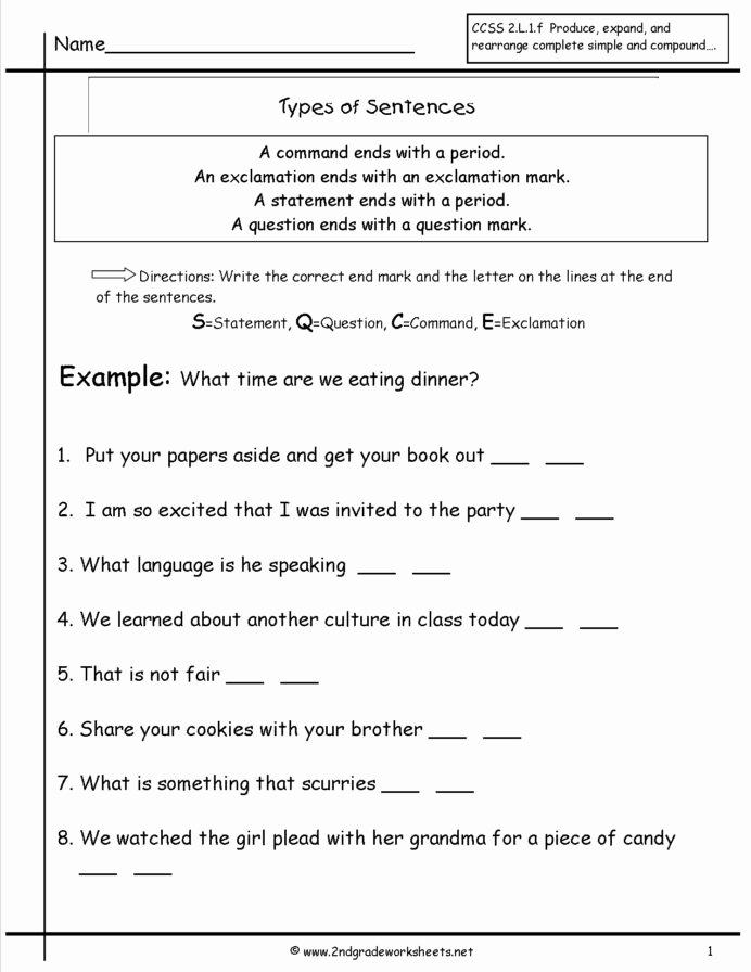 Complete Sentences Worksheets 1st Grade Ideas Second Grade Sentences Worksheets Ccss 4th Sentence