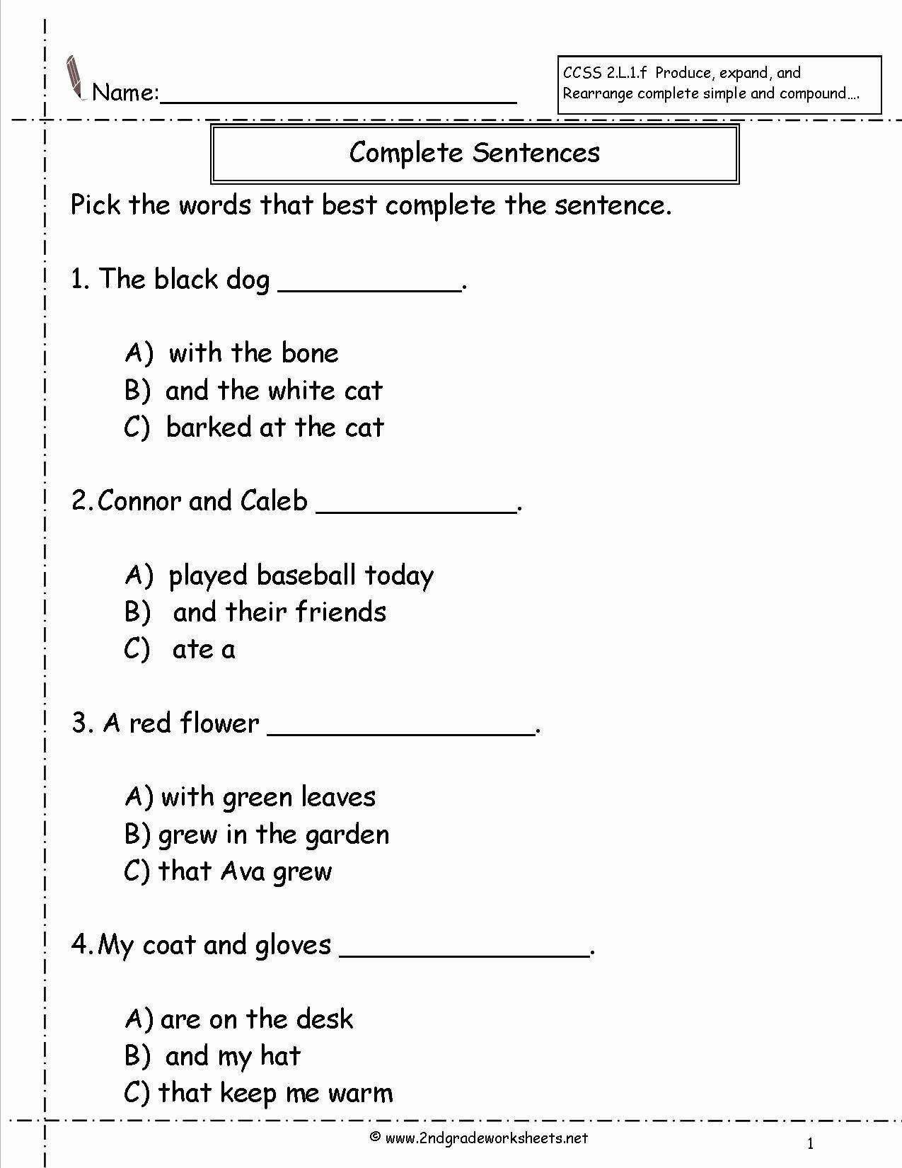 Complete Sentences Worksheets 1st Grade Inspirational Worksheet Remarkable Grade Reading Sentences Image Ideas