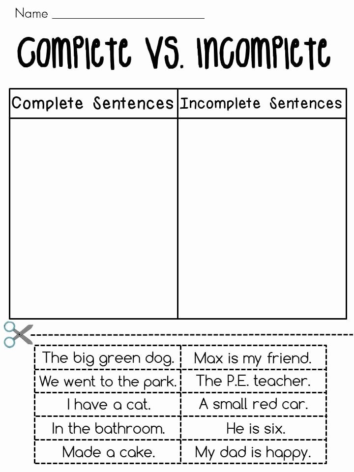 Complete Sentences Worksheets 1st Grade top Plete Vs In Plete Worksheets