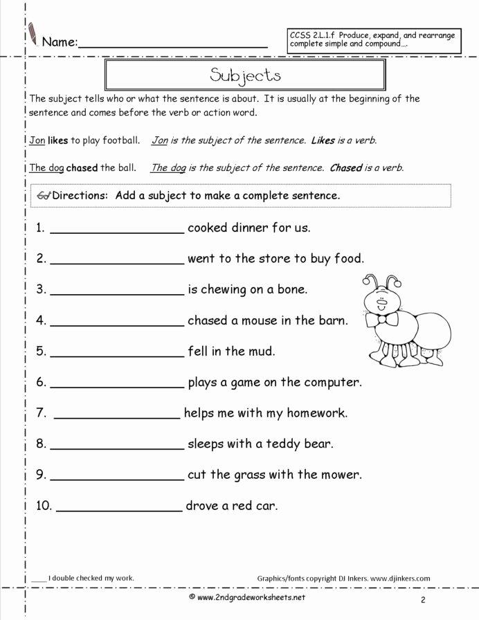 Complete Sentences Worksheets 3rd Grade Ideas Second Grade Sentences Worksheets Ccss 3rd Sentence