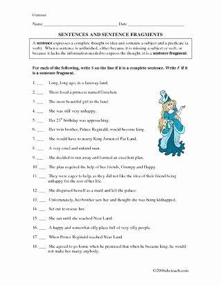Complete Sentences Worksheets 4th Grade Best Of Plete Sentences Worksheets 4th Grade Free Printable