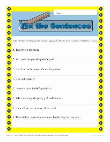 Complete Sentences Worksheets 4th Grade Fresh Run On and Fragments