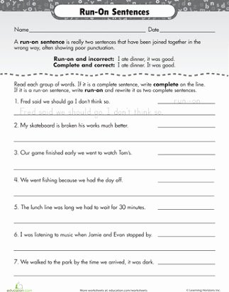 Complete Sentences Worksheets 4th Grade New Run On Sentences Worksheet