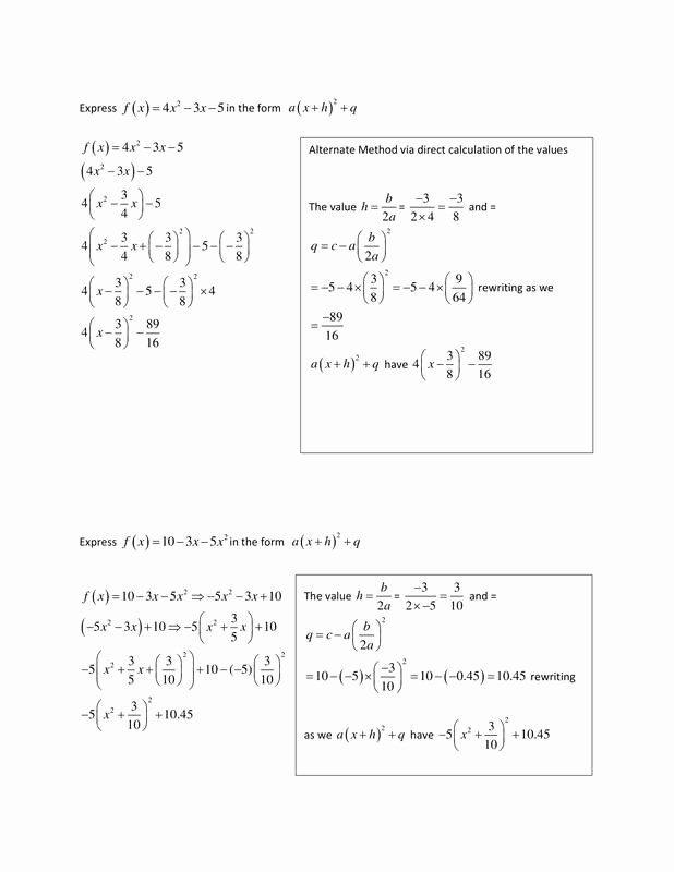 Completing the Square Practice Worksheet Free Pleting the Square Csec Math Tutor