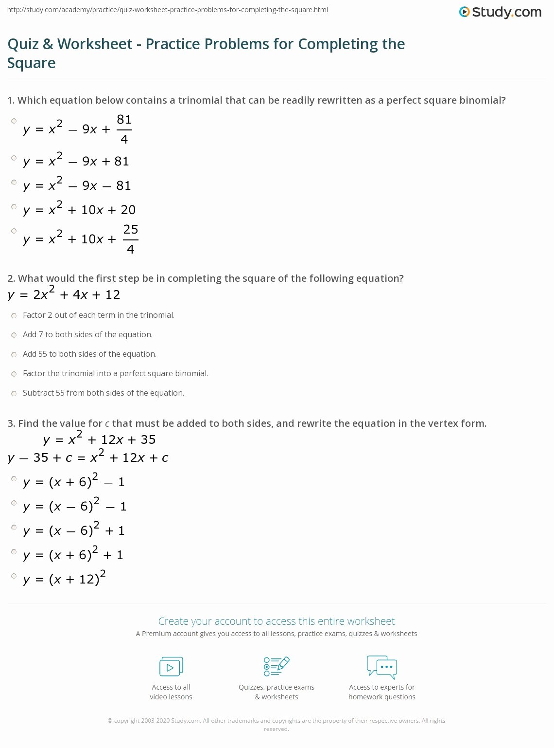 Completing the Square Practice Worksheet Free Quiz & Worksheet Practice Problems for Pleting the