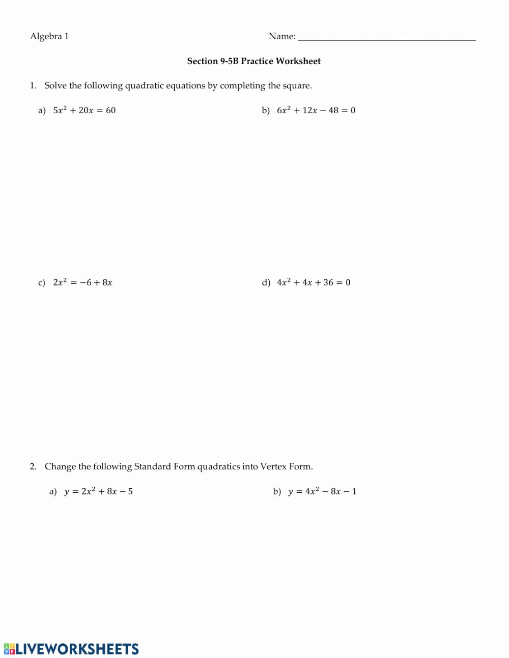 Completing the Square Practice Worksheet Ideas solving Quadratics by Pleting the Square Interactive